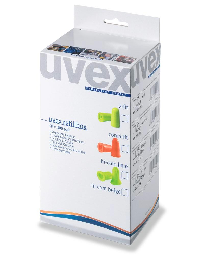 Opflydningsboks uvex com4-fit, til dispenser, SNR 33, orange, 300 par pr. pakke
